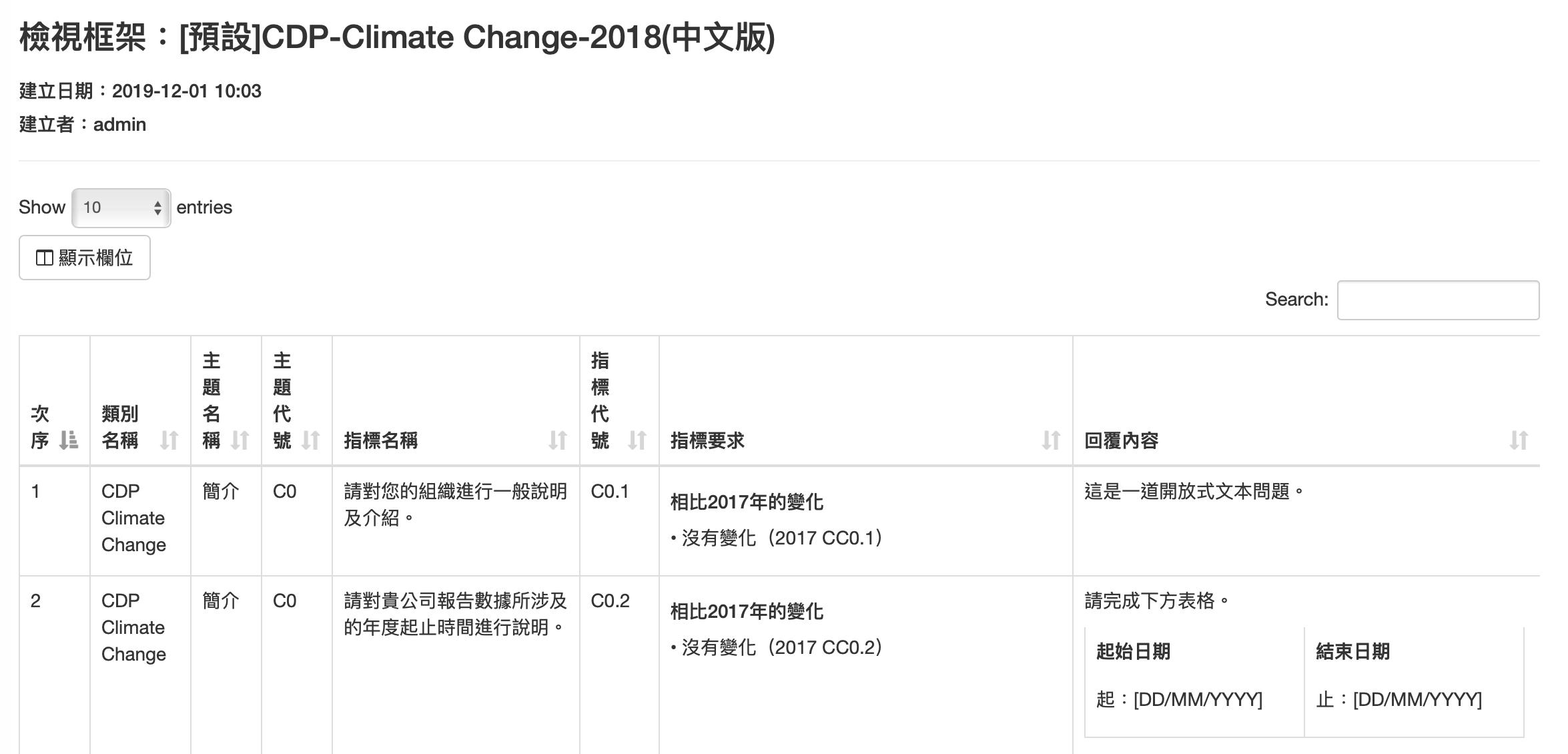 SMS永續管理系統 - 檢視框架